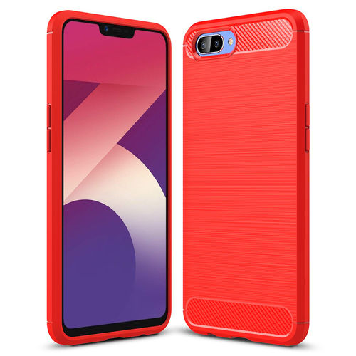 Flexi Slim Carbon Fibre Case for Oppo A3s / AX5 - Brushed Red